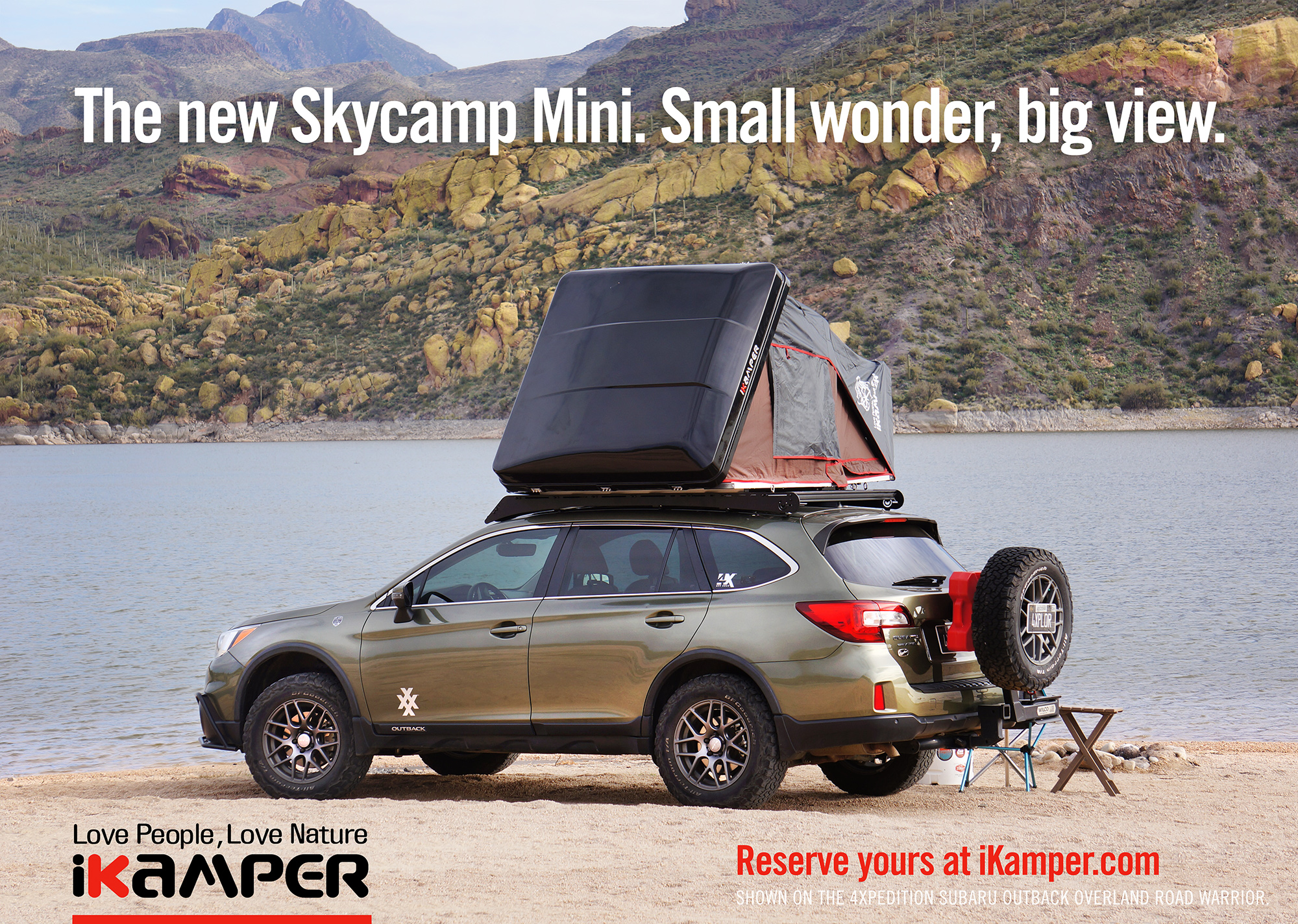 4xpedition subaru outback with ikamper skycamp mini rooftop tent and prinsu designs roof rack